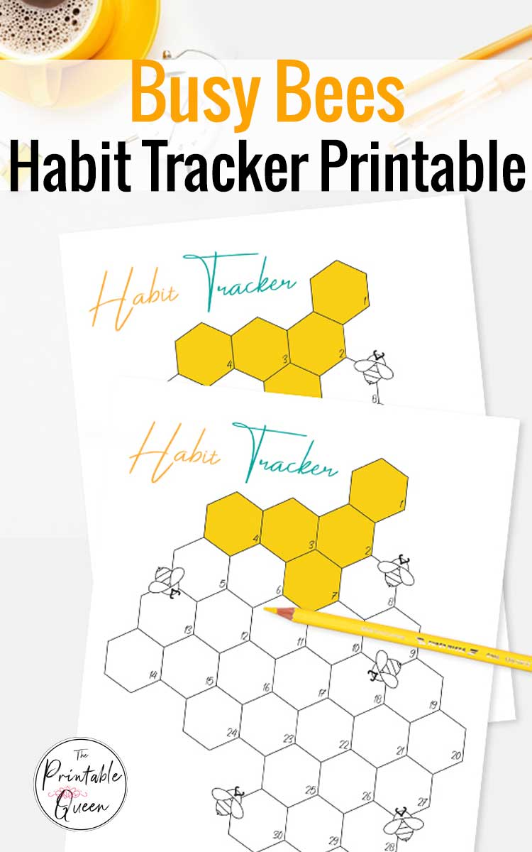 Busy Bees habit tracker printable on a desktop