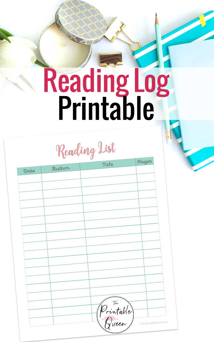Printable Reading Log on desk with books and pencil