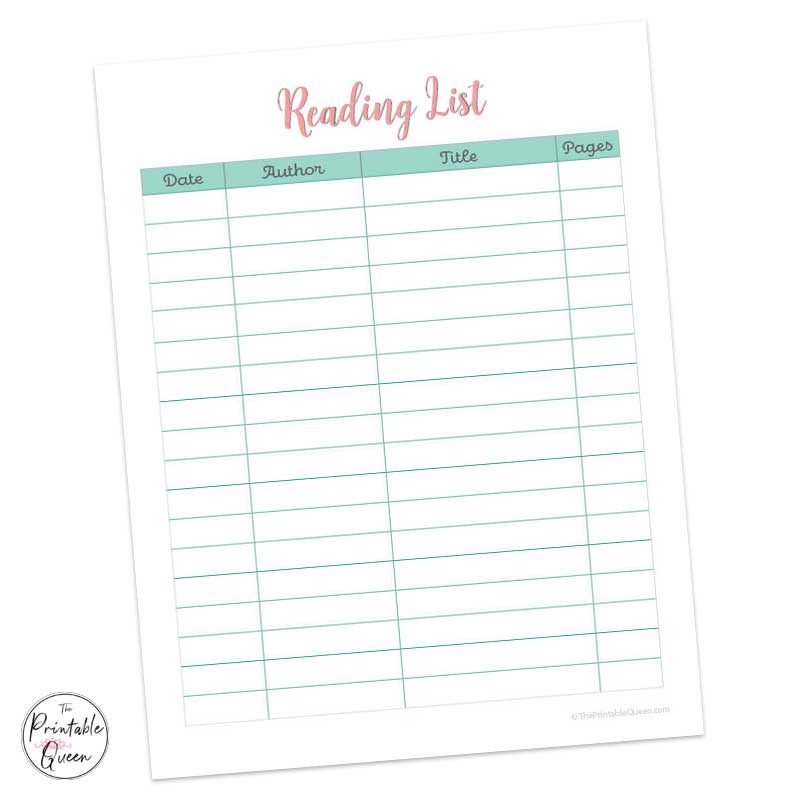 Reading Log Printable with pink reading log title and teal colored chart to keep track of books you are reading.
